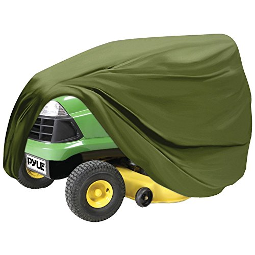Pyle Universal Lawn Tractor Mower Cover - Armor Shield Waterproof Marine Grade Canvas, Weather Resistant Mildew Dust Protection - Indoor Outdoor Protective Storage PCVLTR11 (Green)