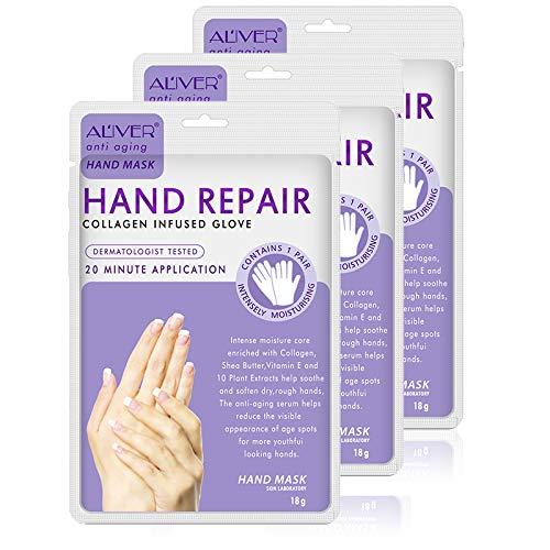 Moisturizing Hand Mask Gloves 3 Pack, Hand Mask Spa Gloves Moisture Enhancing Gloves for Dry Hands,Repair Rough Damage Skin for Women & Men