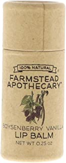Farmstead Apothecary 100% Natural Lip Balm with Organic Beeswax, Organic Shea Butter & Organic Coconut Oil, Boysenberry Vanilla 0.25 oz