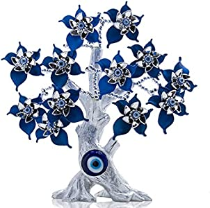 YU Feng Azul Turco Evil Eyes Flower Silver Lucky Money y Evil Eye Tree para Regalo de protección del hogar