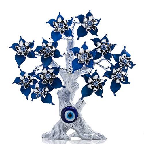 YU FENG Azul Turco Evil Eyes Flower Silver Lucky Money y Evil Eye Tree para regalo de protección del hogar