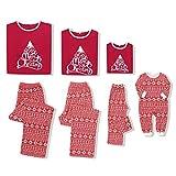 CARETOO Pijamas Dos Piezas Familiares de Navidad, Ropa de Noche Homewear Algodón Camisas de Manga Larga + Pantalones Largos Sudadera para Bebés Niños Mamá Papá