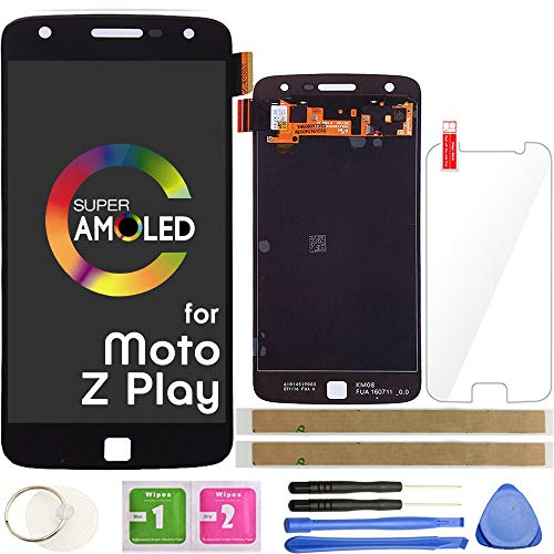 Z Play LCD Screen Replacement Touch Display Digitizer Assembly 5.5' (AMOLED-Black) for Motorola Moto Z Play Droid XT1635 XT1635-01 XT1635-02 with Repair Tools and Screen Protector