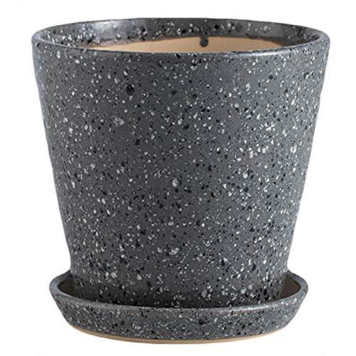 XLitDe Cerámica de cerámica de Maceta Grande con Bandeja Hogar Potted Suculento Calibre Grande para la decoración del hogar, Oficina y Outdoor,Gris,L