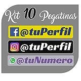 Kit x10 Pegatinas Vinilo con tu Perfil Social de Facebook, Instagram o WhatApp - Bici, Casco, Pala De Padel, Monopatin, Coche, Moto, etc. Kit de Diez Vinilos (Pack Fuentes 1)