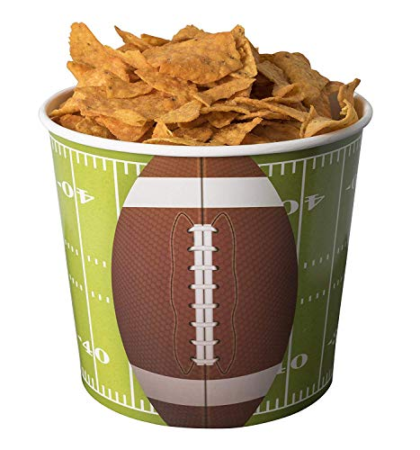 Hammont Football Party Supplies Snack Cups - 84 Oz Superbowl Disposable Paper Bucket Ideal for Tailgate Parties, Family Dinner and Sports Event (8 Pack)