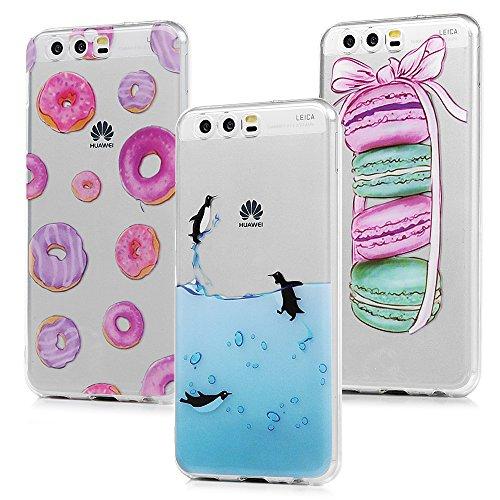 MAXFE.CO 3X Cover Huawei P10, Custodia Silicone Morbido Trasparente TPU Flessibile Gomma Design IMD Case Ultra Sottile Cassa Protettiva per Huawei P10 - Penguin, Macarons, Cerchi Colorati