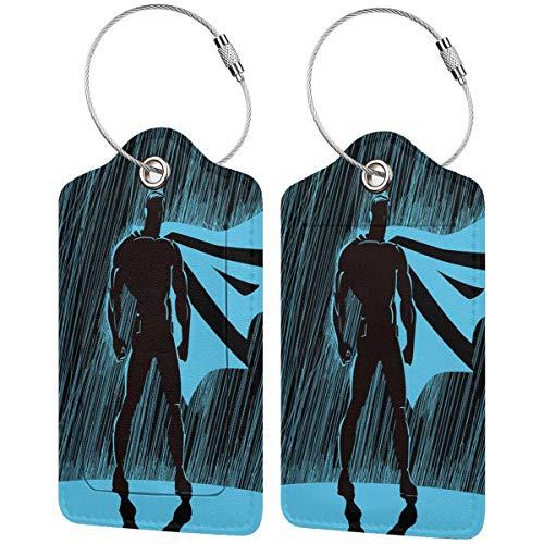NOLYXICI Viaggio Luggage Tag,Eroe nella pioggia di notte Drammatico Super Defender Macho Pride Neon Male Illustration,Valigie Luggage ID Etichette Per Valigia Bagaglio Zaini Borsa,(4 pezzi)