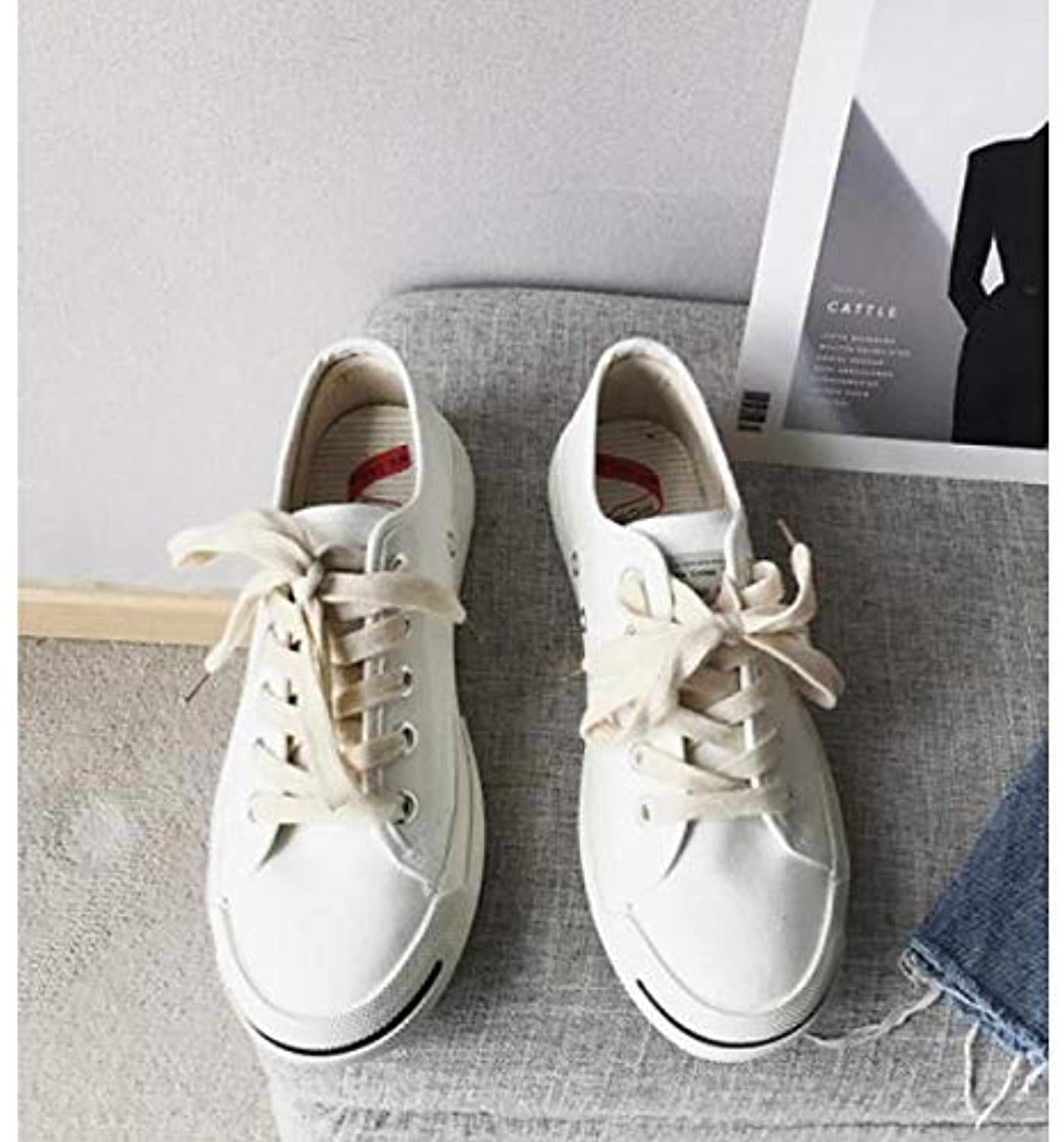 Women's Comfort shoes Canvas Spring & Fall Sneakers Flat Heel White Black   Red