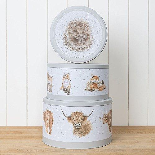 Wrendale Designs The Country Kitchen Collection Lot de 3 moules à gâteau en forme de nid Motif hérisson, renard, taureau