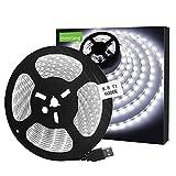 Tiras LED USB 3M, 6000K Blanco frío Luces de Tiras LED con SMD2835 LED,Impermeable IP65 Retroiluminación de TV Flexible para Cine en Casa, Cocina, Dormitorio, Sala de Estar [Clase Energética A +]