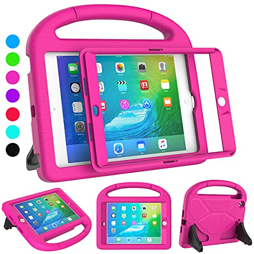SUPLIK iPad Mini 1/2/3 for Kids, Built-in Screen Protector Durable Shockproof Protective Cover with Handle Stand for 7.9 inch Apple iPad Mini 1st/2nd/3rd Generation, Pink