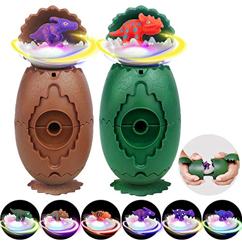 Dinosaur Toys for Kids Boys & Girls Dinosaur Surprise Eggs with 6 Different Dinosaurs Figures, LED Light Up Flashing Dinosaur Spinning Tops, Perfect Toys Party Favors, 2 Pack