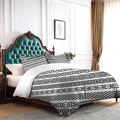SmallNizi (Funda nórdica + 2 Fundas de Almohada) Irlandés, Bordes Vintage en Forma de Adornos celtas clásicos Patrón de Rayas horizontales, Juego de sábanas de Tres Piezas Blanco Negro