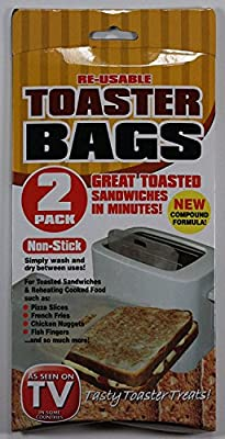2 Pack Non Stick Re-usable Toaster Toasting Toastie Bags Pockets Sandwich Bags
