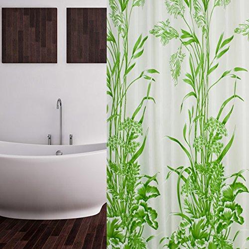 TEXTIL DUSCHVORHANG BLATTMUSTER WEISS GRÜN 120x200 CM INKL. DUSCHRINGE 120 x 200 cm EXTRA SCHMAL! SHOWER CURTAIN GREEN EXTRA SMALL!