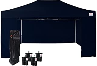 UNIQUECANOPY 10'x15' Ez Pop Up Canopy Tent Commercial Instant Shelter, with 4 Removable Zippered Side Walls and Heavy Duty Roller Bag, 4 Sand Bags Navy Blue