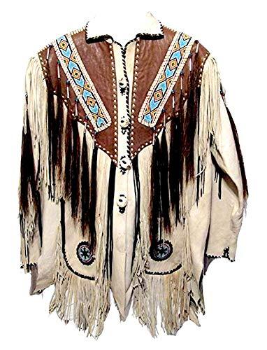 Classyak Western - Chaqueta de piel con flecos, cuentas y huesos para hombre Blanco Vaca blanca. XXXXXL