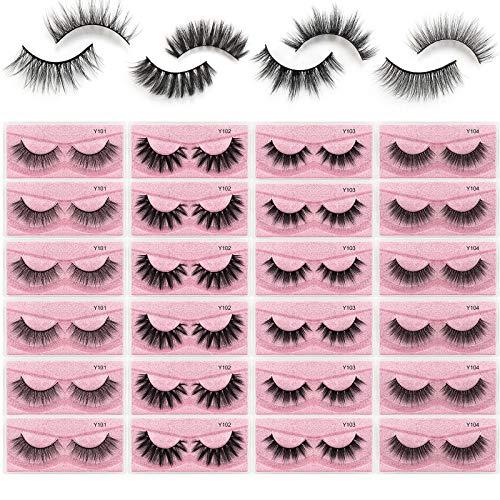 MAGEFY 24 Pairs Faux Mink Eyelashes,4 Style Natural Fluffy False Eyelashes,Dramatic Reusable Fake Lashes Pack For Women