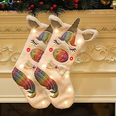FREESOO Medias de Navidad, Juego de 2 Calcetines de Navidad Bolsa de Regalo Unicornio con Luces Mini Botas Bolsillo Calcetín Bolsa de Dulces Decoración para Año de Dulces Navidad Árbol Chimenea