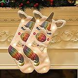 FREESOO 2PCS Calcetín de Navidad Unicornio con Luces Bolsa de Regalo Saco de Navidad para Decoración árbo Adorno de Navidad Bolsa de Dulces Colgantes Medias Decoración Navideña