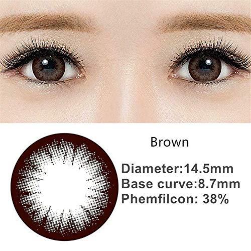 No logo Kawaii Sakura Schwarz/Braun Big Eye Soft-Farbe Kontaktlinsen, 0.00 Dioptrien (Farbe : Brown)