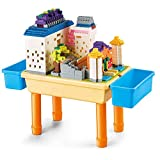 pluspoint multi activity desk building blocks compatible bricks toy,learning desk as gift,play table with storage (blocks desk 1000pc)- Multi color