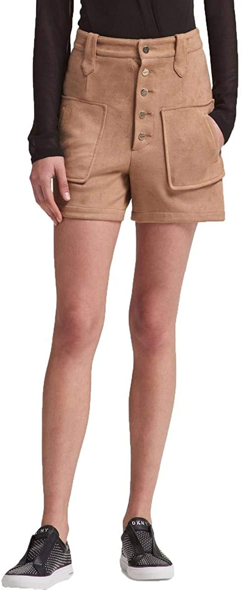 DKNY Womens Faux Suede Casual Walking Shorts, Brown, 8