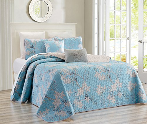 5-Piece Fine printed Chic Quilt Set Reversible Bedspread Coverlet (California) CAL KING SIZE Bed Cover (Light Blue, Grey, Vine)