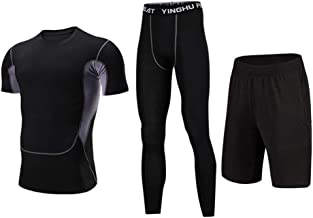 Trainingskleidung für Herren Kompression Kurzarm T-Shirt Shorts 3 Stücke männer Active Running Workout Kleidung Set Mit Kompression Enge Hosen für Radfahren Laufen Gym Fitness