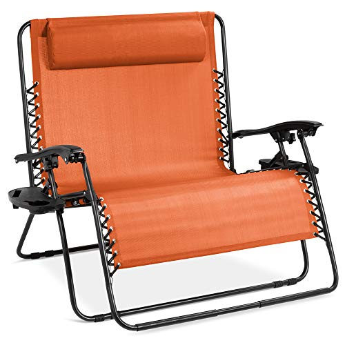 Best Choice Products 2-Person Double Wide Adjustable Folding Steel Mesh Zero Gravity Lounge Recliner Chair for Patio, Lawn, Balcony, Backyard, Beach, Outdoor Sports w/Cup Holders - Orange