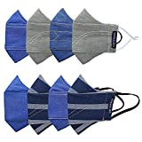 Material: - 100% Pure Cotton Denim Fabric Premium Quality Cloth Soft Elastic Ear Loops Styled to fit comfortably on the nose and contoured for snug fit Long time comfort from breathable soft cotton fabric 3 Layer Protection, Cotton Denim /Non Woven 1...