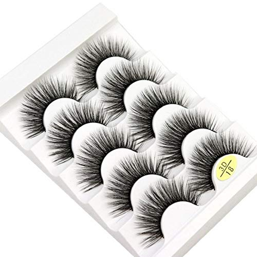 KADIS 5 Pairs Natural False Eyelashes Fake Lashes Long Makeup 3D Lashes Eyelash Extension Eyelashes for Beauty,3D18 New