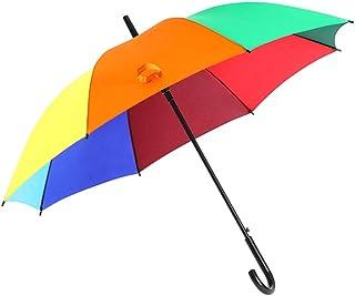 ゴムJタイプのハンドルが付いている半自動8パネルの虹の傘、1-3人のための直径112cm