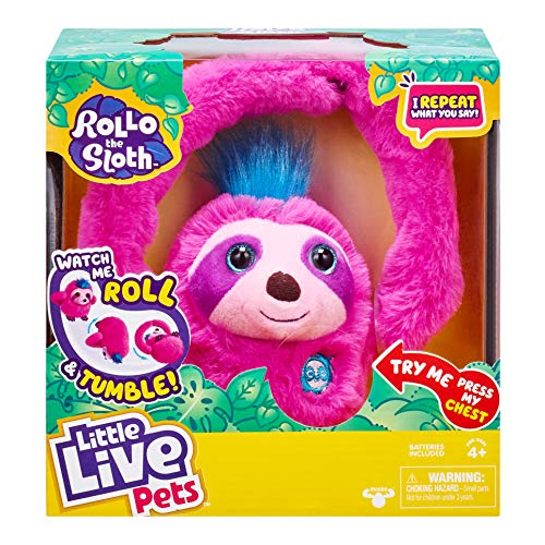 Little Live Pets Rollo The Sloth - Bendable Arms, Movement, Reacts to Sounds, and Repeats What You say