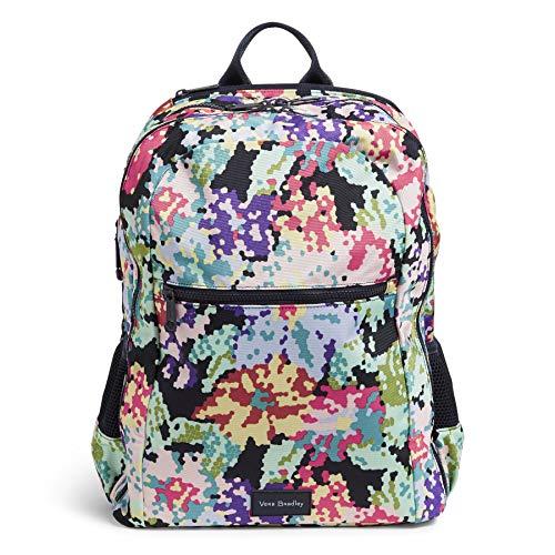Vera Bradley Recycled Lighten Up Reactive Grand Backpack, Happy Blooms Cross-Stitch