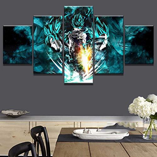 Angle&H 5 Stück HD-Druck Dragon Ball Super Goku und Vegeta Poster Malerei Auf Leinwand Wandkunst zum Zuhause Wohnzimmer Dekoration,B,30x40x2+30x80x1+30x60x2