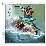 XBBAO - Cortina de ducha con diseño de gato japonés de pie, diseño de tiburón con cabeza de martillo, pesca en olas del océano, cortina de ducha de tela de tiburón, olas de mar de tiburón