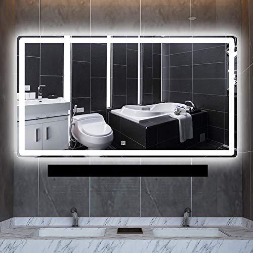 Bathroom mirror LED Badezimmerspiegel, quadratischer Spiegel/weißes Licht, warmes Licht / 5 mm silberner Spiegel/Antibeschlag, Make-up/Bürsten/Tragen von Kontaktlinsen