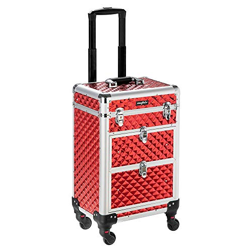 Mefeir Makeup Trolley Professional Artist Rolling Train Case Aluminum Lockable Cosmetic Travel Case, with 4 360-Degree Casters & 2 Sliding Drawers, Red