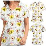 Briskorry Damen Schlupfkasack Große Größen Nurse Kasack V-Ausschnitt Kurzarm Krankenhauskleidung Berufsbekleidung Arbeitsuniform Krankenpfleger Uniformen Tops T-Shirt