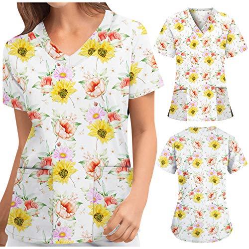 Briskorry Kasacks - Bolsa de aseo para mujer con estampado floral, manga corta, camiseta de manga corta, amarillo, M