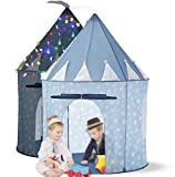 LimitlessFunN Kids Play Tent Bonus Star Lights & Carrying Case [ Pop Up Portable Glow in The Dark Stars Blue ] Children Castle Playhouse for Girls Boys, Indoor & Outdoor