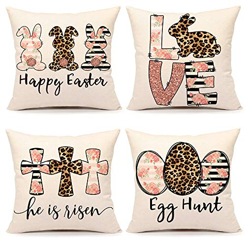 4TH Emotion Spring Easter Pillow Covers 18x18 Set of 4 Farmhouse Decor Decoration Cushion Case for Sofa Couch Cotton Linen(Happy Bunny, Love Rabbit, He is Risen, Egg Hunt)