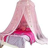 Bed CanopyComfort Gold Star Lace Princess Mosquito Net Bed Canopy Cortina para Niñas Adecuado para Niños Twin Twin Queen Size Bed (Color : A, Size : 6 Feet)