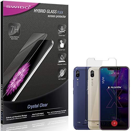 SWIDO Panzerglas Schutzfolie kompatibel mit Allview Soul X5 Style Bildschirmschutz-Folie & Glas = biegsames HYBRIDGLAS, splitterfrei, Anti-Fingerprint KLAR - HD-Clear