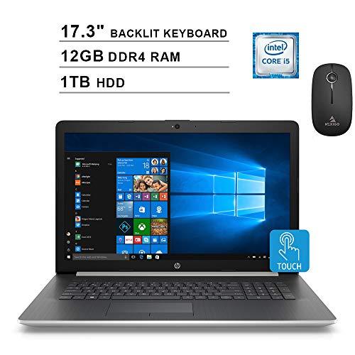 2020 HP Pavilion 17.3 Inch Touchscreen Laptop (Intel 4-Core i5-8250U up to 3.4GHz, 12GB DDR4 RAM, 1TB HDD, AMD 530 2GB, Backlit KB, Windows 10) + NexiGo Wireless Mouse Bundle (Renewed)