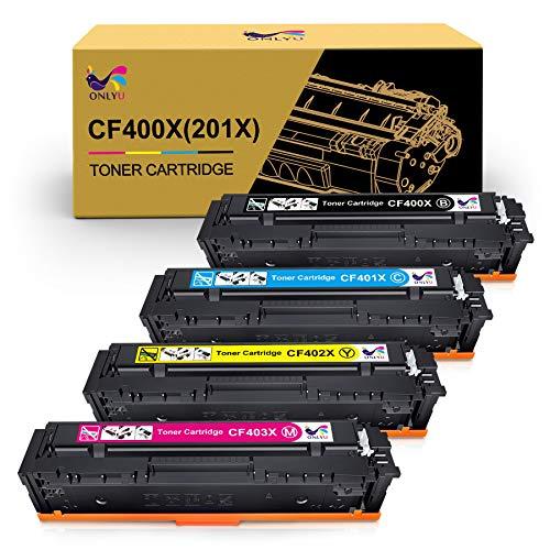 ONLYU Kompatible Tonerkartusche Ersatz für HP 201X 201A CF400X CF400A CF401X CF402X CF403X für HP Color LaserJet Pro MFP M277dw M277n M252dw M252n MFP M274N (1Schwarz/1Cyan/1Magenta/1Gelb)