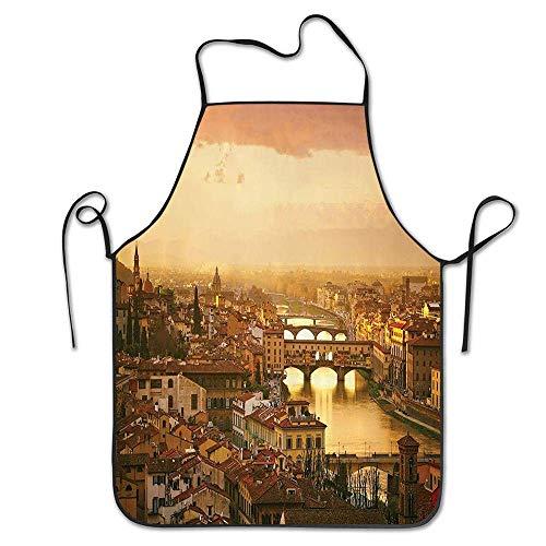 N\A Brücke Ponte Vecchio Italien Vogelperspektive Sonnenuntergang Blick Schlosshäuser Historisches Stadtbild Kochen Küche Restaurant Bar Schürze Schicke Schürze Chef Schürze Unisex Schürze