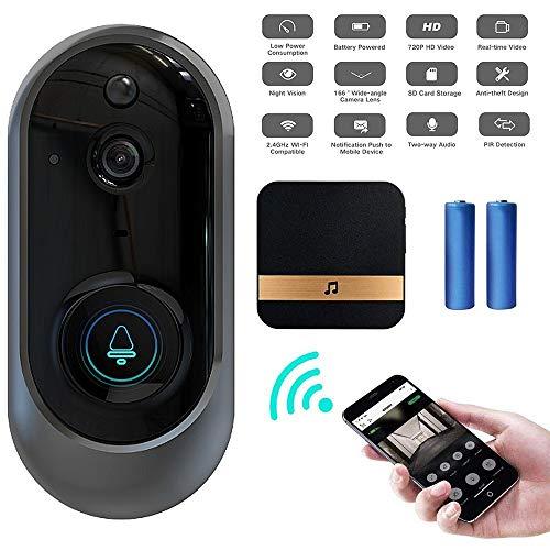 M-TOP intercominstallatie, draadloos, video, WiFi, deurintercom, draadloos, groot bereik, bel, wifi-camera, 720P, Doorbell met waterdicht, IR-nachtzicht, functie, PIR-bewegingsdetectie